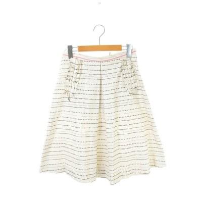 【中古】マルニ MARNI ボーダー刺繍スカート 膝丈 フレア  40 アイボリー /HH ■OS レディース 【ベクトル 古着】