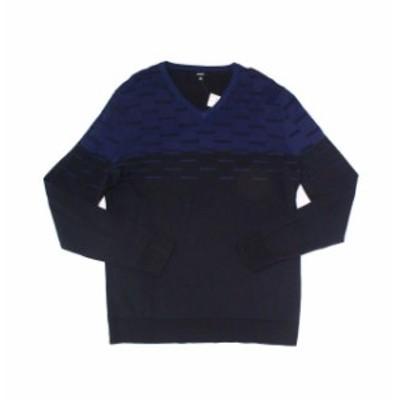 Alfani  ファッション トップス Alfani Blue Black Mens XL V-Neck Dash Texture Colorblock Sweater