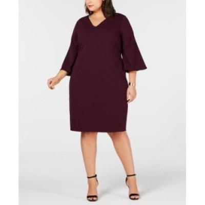 カルバンクライン レディース ワンピース トップス Plus Size Bell-Sleeve Sheath Dress Aubergine