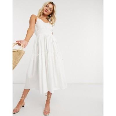 セレクティッド レディース ワンピース トップス Selected Femme cami midi dress with tiered skirt in white