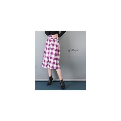 ANAP ブロックチェックベルトデザインスカート パープル