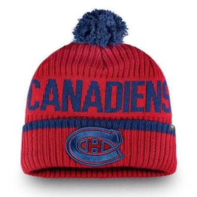 ユニセックス スポーツリーグ ホッケー Montreal Canadiens Fanatics Branded Iconic Stroke Cuffed Knit Hat with Pom - Red - OSFA 帽子