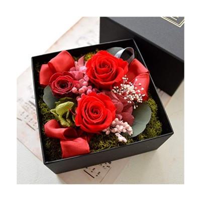 本物プリザーブドフラワー ギフト 香る フラワーボックス アロマbox プレゼント フラワー ボックス入り アレンジ 香り付き (レッド)