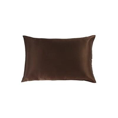 シルクまくらカバー 洗濯 ピローケース 43x63cm 額縁無し |19匁寝具 枕 カバー |ブラウン (ブラウン 43*63cm)