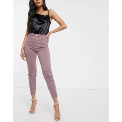 エイソス レディース デニムパンツ ボトムス ASOS DESIGN Farleigh high waist slim mom jeans with raw hem in dusty mauve Mauve