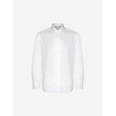 イートン ETON メンズ シャツ スキニー・スリム スリム トップス Slim-fit cotton shirt White