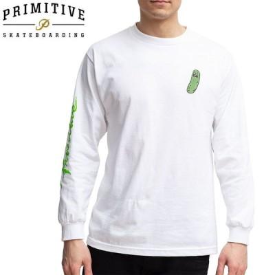 PRIMITIVE プリミティブ スケボー ロング Tシャツ PICKLE RICK LS TEE リック・アンド・モーティコラボ ホワイト NO19