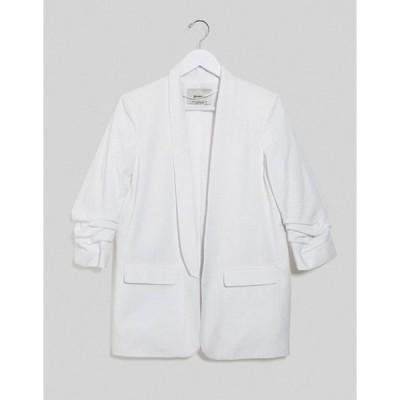 ストラディバリウス レディース ジャケット・ブルゾン アウター Stradivarius ruched sleeve blazer with embroidery in white