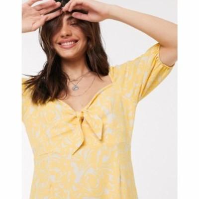 モンキ Monki レディース ワンピース ミニ丈 ワンピース・ドレス Mayan printed mini dress in yellow イエロー