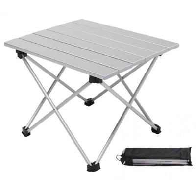 折りたたみ ロールテーブル アルミ アウトドア テーブル 耐荷重 30kg 専用収納袋付 シルバー