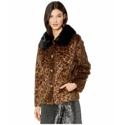 ケイト スペード コート アウター レディース Faux Fur Three-Button Jacket Leopard