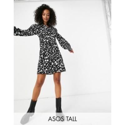 エイソス レディース ワンピース トップス ASOS DESIGN Tall mini shirt dress in black and white leopard print Black and white