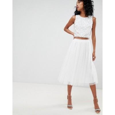 レースアンドビーズ レディース スカート ボトムス Lace & Beads tulle midi skirt in white