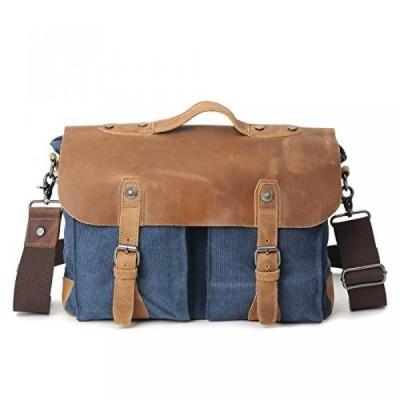 全国送料無料 パソコン ストレージ ビンテージ レザー サッチェル メッセン ジャー バッグ 14 インチ キャンバスのラップトップ バッグ肩学校 Bookbag