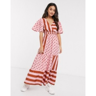 エイソス レディース ワンピース トップス ASOS DESIGN v front v back maxi dress with shirred waist in spot and stripe print Pink/r