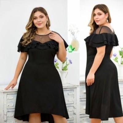 【 XL ~ 4XL 】 大きいサイズ レディース 女性服 エレガント レース パーティー ドレス フリル 4xl 4l 3l 70756