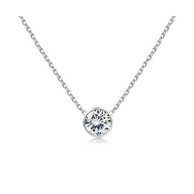 Sllaiss 925 Sterling Silver AAA Cubic Zirconia Solitaire Pendant Necklace White Round-Cut CZ Chain Necklace ,Fine Jewelry for Anniversary Ch