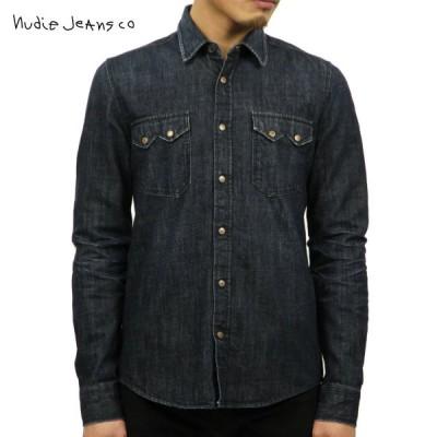 ヌーディージーンズ ジャケット メンズ 正規販売店 Nudie Jeans アウター デニムシャツ Gusten 140091 REPAIR MEDIUM CONTRAST LIGHT DAMAGE D15S25