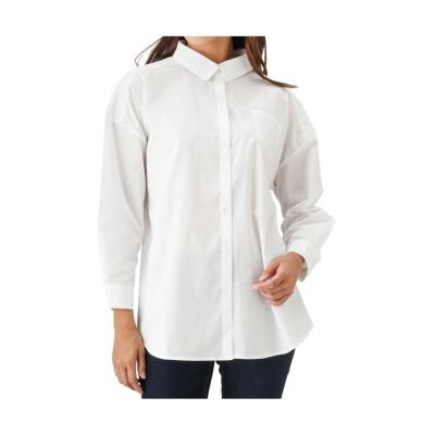 (MAC HOUSE(women)/マックハウス レディース)Navy バックリボンシャツ無地 132-8443/レディース ホワイト