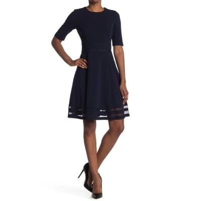 カルバンクライン レディース ワンピース トップス Shadow Stripe Hem Fit & Flare Dress INDIGO
