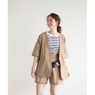White Collection / 【2021SS】リネンライク・オフラインジャケット WOMEN ジャケット/アウター > ノーカラージャケット