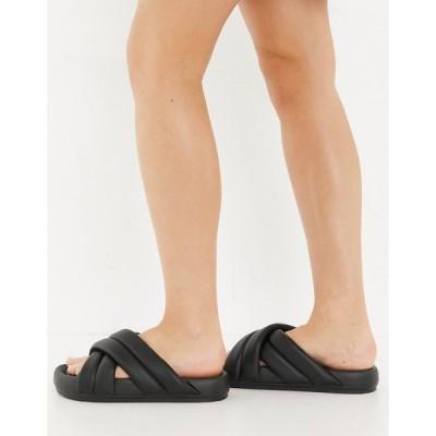 プル&ベアー Pull&Bear レディース サンダル・ミュール シューズ・靴 Cross Strap Slider In Black ブラック
