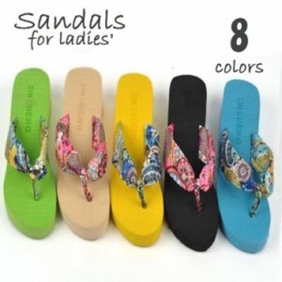 サンダル 靴 ビーチサンダル ビーサン トング 厚底サンダル 厚底 ビビッドカラー レディース 女性用 婦人靴 美脚効果