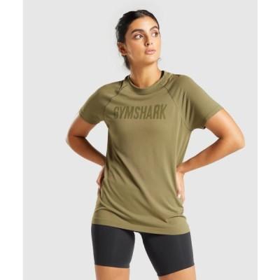 ジムシャーク レディース Tシャツ 半袖 ラグランスリーブ ジムシャーク フィット シームレスTシャツ GYMSHARK フィジーク レディース
