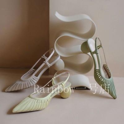 サンダル レディース ポインテッドトゥ シースルー サークルヒール ラウンドヒール ミントグリーン イエロー 白 韓国ファッション