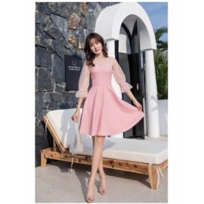 パーティー ドレス ワンピース ドット柄 シースルー ひざ丈 パフスリーブ 七分袖 結婚式 韓国 mme6022