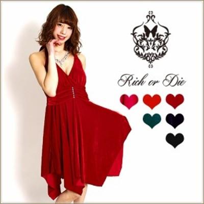 【ゆったりサイズ】ベロア素材ストーン付きモンロータイプミディアムランダムカットドレス