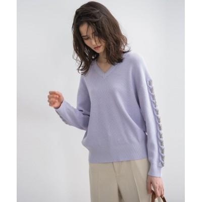 MAYSON GREY / 袖レースアップ配色プルオーバー WOMEN トップス > ニット/セーター