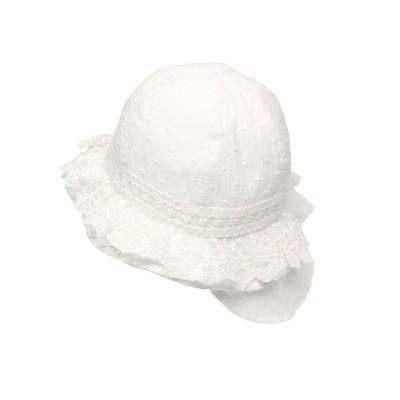 【こどもの森】  kid´s zoo (キッズズー) 日よけたれ付きレースフリルハット・帽子 46cm,48cm W45401 キッズ ホワイト 48 KODOMONOMORI
