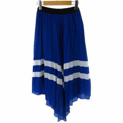 【中古】ザラ ZARA スカート ロング プリーツ 変形 ブルー 青 XS レディース