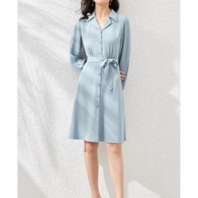 ドレス シフォンワンピース ワンピース ワンピ 大きいサイズ  Aライン シンプル 無地 ラペル 襟付き ウエストベルト付き ひざ丈 レディー