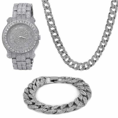 イヤリング スタッド アメリカン ジュエリー ヒップホップ Silver Plated ICED OUT Cuban Chain CZ Stud Round w/ Fully CZ Watch & Bracelet