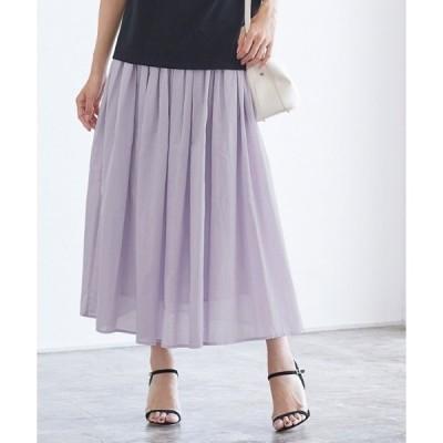 スカート コットンギャザーロングスカート