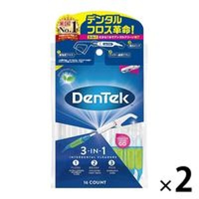 Prestige Consumer HealthcareDENTEK(デンテック) 3-in-1 インターデンタルクリーナー フロス・歯間・ピック 16本入 1セット(2袋) ピルボックスジャパン
