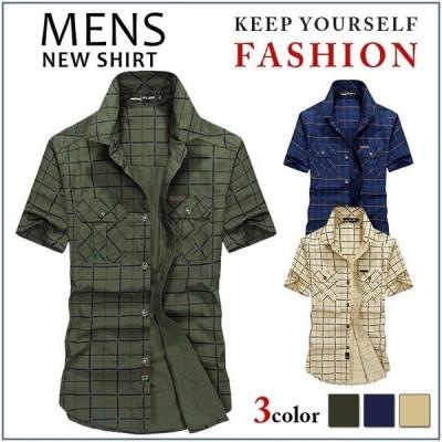 半袖シャツ カジュアルシャツ メンズ 前開き ボタンダウン 無地 ストライプ 胸ポケット ノーアイロン 大きいサイズ 夏 新作