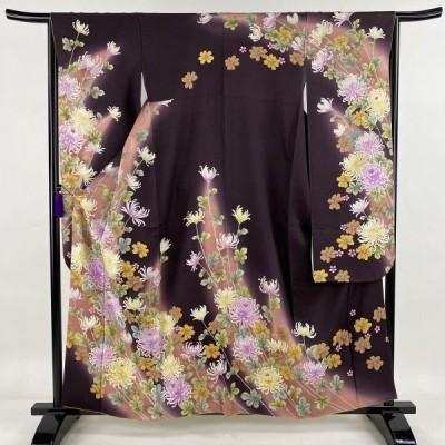 振袖 美品 逸品 菊 秋桜 金通し 刺繍 濃紫 袷 身丈161cm 裄丈65.5cm M 正絹 中古