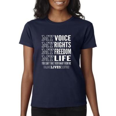 レディース 衣類 トップス Trendy USA 1094 - Women's T-Shirt My Voice My Rights Black Lives Matter Human Rights Small Navy Tシャツ