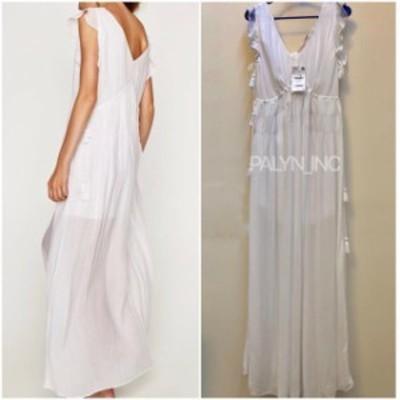 Maxi  ファッション ドレス RARE NWT ZARA SS18 MAXI FLOWING WHITE LONG V NECK DRESS 7521/803_L