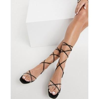 アルド ALDO レディース サンダル・ミュール フラット シューズ・靴 Aldo Tie Leg Flat Sandals In Black ブラック