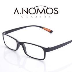 【A.NOMOS】優質折不斷耐摔耐用黑橘色老花眼鏡(88702)