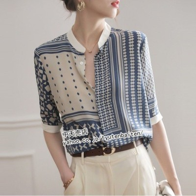 シャツ ブラウス レトロシャツ レディーストップス半袖 ゆったり キレイめ 幾何学模様 大きいサイズ サマー シングル 通勤 40代50代 春夏 30代 二次会 大人
