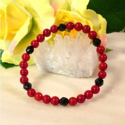 天然石 パワーストーン ブレスレット レッドコーラル 赤珊瑚(染め) ブラックスピネル 087
