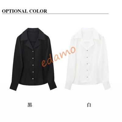 シャツ レディース トップス ブラウス 長袖 襟付き 無地 シンプル 大きいサイズ 黒 白 S-3L