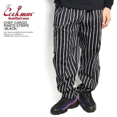 COOKMAN クックマン シェフパンツ  CHEF CARGO PANTS STRIPE BLACK カーゴパンツ ストライプ ブラック