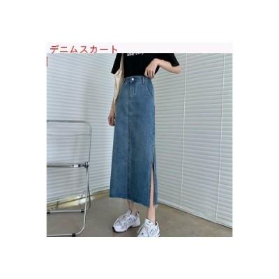 【送料無料】デニムスカート 女 夏 ハイウエスト 着やせ 裾 不規則な スプリット | 364331_A63415-2738421