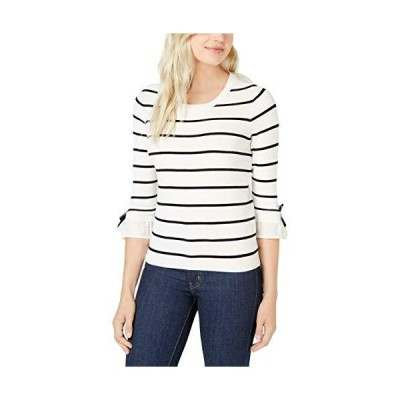 Maison Jules Striped Bow-Trim Sweater White並行輸入品 送料無料